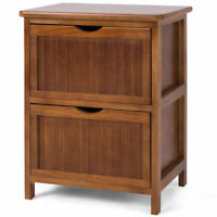2 Drawers Nightstand Contemporary Vintage Bedside Table Solid Wood End table