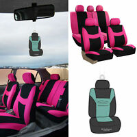 Pink Black Auto Seat Covers Universal for Car SUV w/ Accessories / Gift