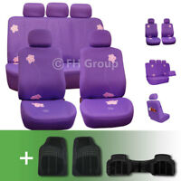 Exquisite Floral Car Seat Covers w. Black Floor Mats Combo
