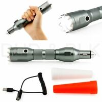 Rechargeable LED Flashlight Emergency Self Defense Car Survival Kit Torch Silver