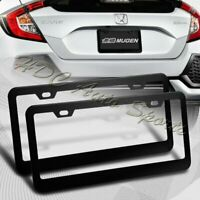 2 x Black Aluminum Alloy Car License Plate Frame Cover Front & Rear US Size