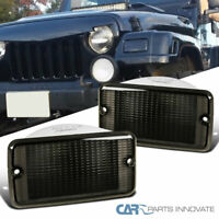 Bumper Lights For Jeep 97-06 Wrangler TJ Smoke Tinted Front Signal Parking Lamps