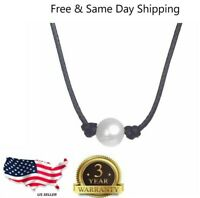 Women Pearl Necklace Genuine Leather Cord Choker Jewelry
