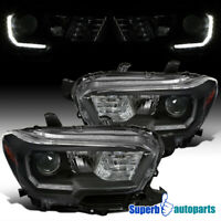 For 2016-2018 Toyota Tacoma Black LED DRL Projector Headlights w/ Signal Lights