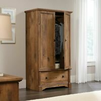 Rustic Finish Armoire Wardrobe Storage Cabinet Closet Drawer Bedroom Furniture