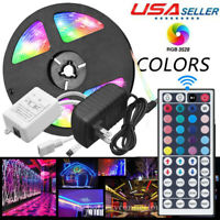 3M 5M 10M RGB 3528 LED Strip light SMD 44 Key Remote 12V US Power Full Kit
