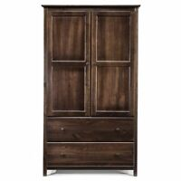 Grain Wood Furniture Shaker 2-door Solid Wood  Armoire Espresso 41x72x22