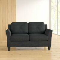 Ibiza Loveseat Furniture Living Room Black Microsuede