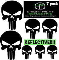 Punisher Skull Black Reflective Decal Set 7pcs (3 Small, 2 Med, 2 Large) Helmets