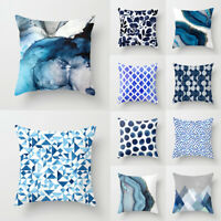 Blue Abstract Printed Smooth Pillowcase Cushion Cover Pillow Case Home Supplies