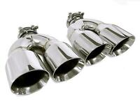 PAIR OF TWO STAINLESS STEEL UNIVERSAL DUAL EXHAUST TIPS 3.5
