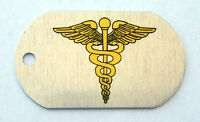 Medical Corps Branch Insignia on an Alum Dog Tag Key Fob Necklace Made in USA