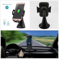 Portable Qi 10W Car Mount Fast Wireless Charging Stand Phone Devices Holder Kit