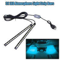 2 In 1 16LED Car Atmosphere Strip Light USB Interior Floor Footwell Lamp White