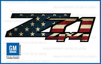 Set of 2: 2007-2013 Z71 4x4 Decals Stickers Bed Side American Flag Worn FWFLAG