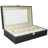 12 Slot Leather Watch Box Organizer Glass Jewelry Storage Case Large Capacity