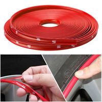 8M Red Car Wheel Hub Rim Trim Tire Ring Guard Rubber Strip Protector Decor US