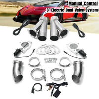 Dual 3'' Electric Exhaust Valve Y-pipe Cutout E-Cut System Manual Switch Control