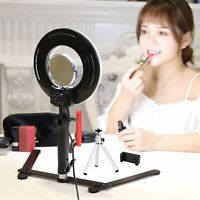 Table Top Photo LED Selfie Ring Light With Desktop Stand For Makeup Phone Clips