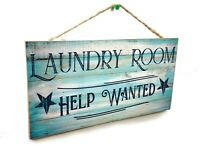 Blue Laundry Room Help wanted Rustic Stars Sign Plaque 5x10