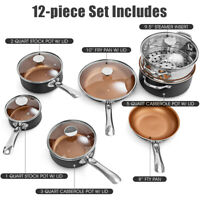 12 Piece Nonstick Cookware Set Copper Pots & Pans Set Dishwasher Safe Oven Home