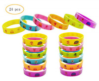24PCS Cute Shark Silicone Wristbands Bracelets Baby Kids Birthday Party Supplies