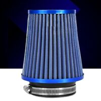 Car High Flow Cooling Air Filter Intake Induction Mesh Cone Blue Filter w/ Ring