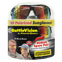 2 Pairs BattleVision HD Polarized Sunglasses Clear Vision As Seen on TV US