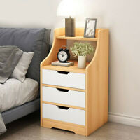 3 Drawers Nightstand Storage Wood End Table Bedside Organizer Modern Cabinet