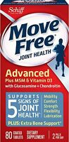 New! Free Shipping Move Free Joint Health Advanced 80 Tablets Count