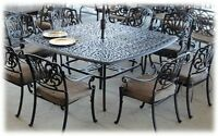 Heritage Outdoor Living 9 pc Elisabeth Dining Set with Square Table