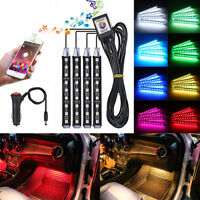 9 LED Car Interior Neon Smart Colorful RGB Floor Light Strip Phone App Control
