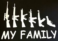 NEW WHITE MY FAMILY GUN RIFLE HANDGUN SELF DEFENSE 2ND AMENDMENT DECAL STICKER