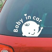 Baby in Car Baby Safety Sign Decal / Sticker, Car Decal Sticker - White