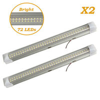 72LEDs Interior Light Bar Strips Switch White RV Caravan Kitchen Cabinet Ceiling