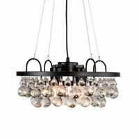Aero Snail Industrial Antique Metal and Crystal 4-light Round Chandelier Living