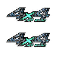 4X4 OFFROAD Truck Bed TEAL Camo Graphic Skull Obliteration  (2 pack)  a004TEALOR