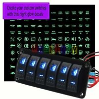 12/24V Car Marine Boat 6 Gang Dual Blue LED Rocker Switch Panel Breaker