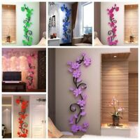 Flower Decal 3D Mirror Wall Sticker DIY Removable Art Mural Home Room Decor Gift