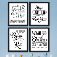 Funny Bathroom Wall Art Prints Farmhouse Decor Quotes Signs Pictures Gag Gift