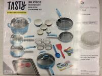 Tasty 30 Piece Non-Stick Cookware Set + Google Home Mini, Blue, Brand New
