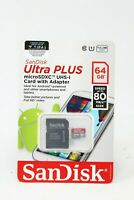 SanDisk Ultra Plus MicroSDXC UHS-I SD Card w/ Adapter 64GB Speed up 80MB/s - NEW