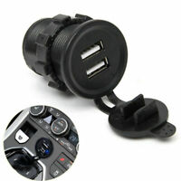 Black Car Cigarette Lighter Socket Dual USB Charger Power Adapter Accessories