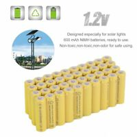40PC AA 600mAh 2A 1.2 V Ni-MH Yellow Rechargeable Battery Cell for MP3 RC Toy