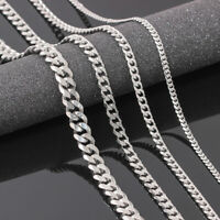 Men's Boy Stainless Steel Silver  Curb Chain Necklace Jewelry 3.5/5/7mm 18/30