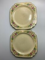 Vintage Set Of 2 Homer Laughlin Plates: Square Shape Yellow With Flower Garland