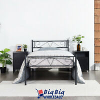 Twin Size Metal Bed Frame Black Mattress Foundation with Headboard Footboard