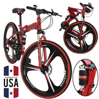"26"" Full Suspension Mountain Bike 21 Speed Folding Bicycle Men or women MTB"