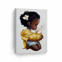 Curly Girl Afro African American Kid Cuddle Bunnies  Canvas Wall Art Print