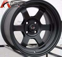 15X7 ROTA GRID-V WHEELS 4X100 BLACK RIMS ET20MM FITS CIVIC INTEGRA DELSO CRX